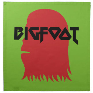 Bigfoot Face and Text - Red and Black Stencil Napkin