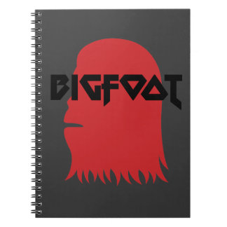 Bigfoot Face and Text - Red and Black Stencil Notebooks