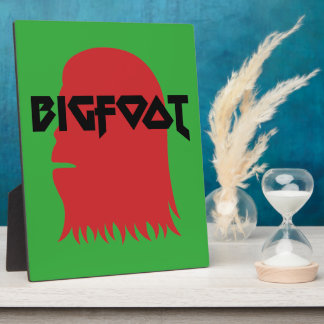 Bigfoot Face and Text - Red and Black Stencil Plaque