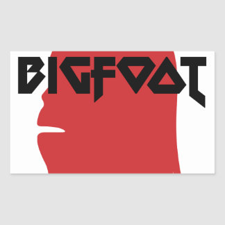 Bigfoot Face and Text - Red and Black Stencil Rectangular Sticker