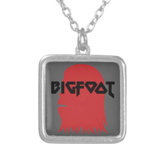 Bigfoot Face and Text - Red and Black Stencil Silver Plated Necklace