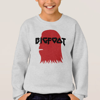 Bigfoot Face and Text - Red and Black Stencil Sweatshirt