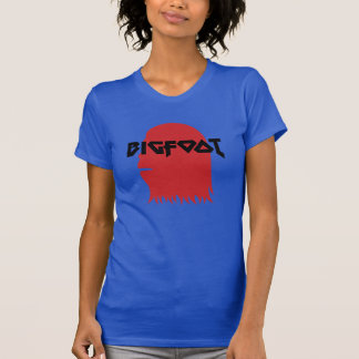 Bigfoot Face and Text - Red and Black Stencil T-Shirt