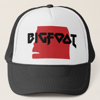 Bigfoot Face and Text - Red and Black Stencil Trucker Hat