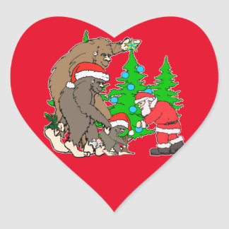Bigfoot family  and Santa Heart Sticker