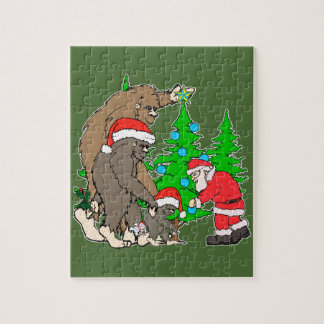 Bigfoot family  and Santa Jigsaw Puzzle