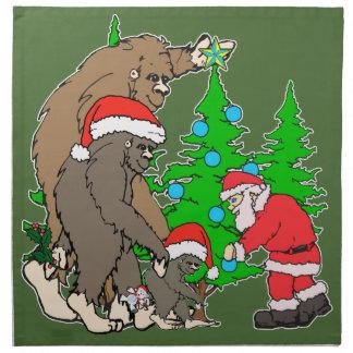 Bigfoot family  and Santa Napkin