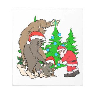 Bigfoot family  and Santa Notepad