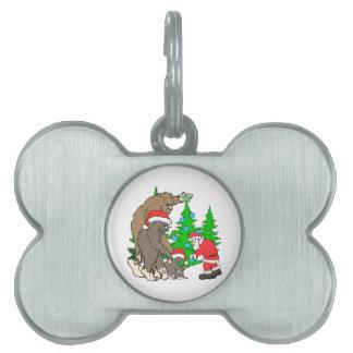 Bigfoot family  and Santa Pet Name Tag