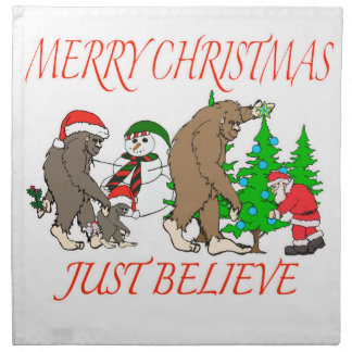 Bigfoot Family Christmas 2 Napkin