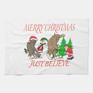 Bigfoot Family Christmas 2 Tea Towel