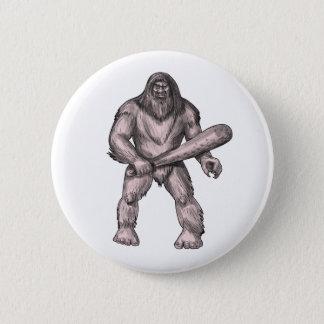 Bigfoot Holding Club Standing Tattoo 6 Cm Round Badge