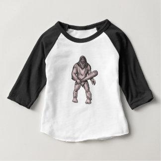 Bigfoot Holding Club Standing Tattoo Baby T-Shirt