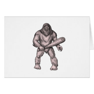 Bigfoot Holding Club Standing Tattoo Card