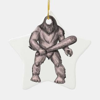 Bigfoot Holding Club Standing Tattoo Ceramic Star Decoration