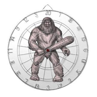Bigfoot Holding Club Standing Tattoo Dartboard