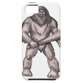 Bigfoot Holding Club Standing Tattoo iPhone 5 Case