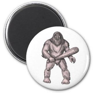 Bigfoot Holding Club Standing Tattoo Magnet