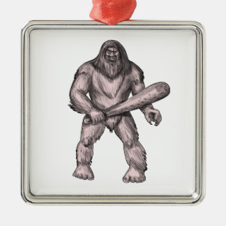 Bigfoot Holding Club Standing Tattoo Metal Ornament