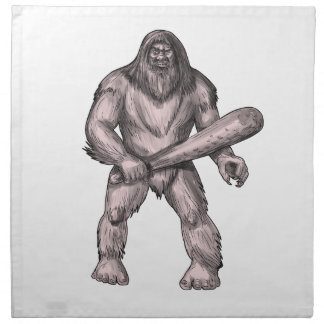 Bigfoot Holding Club Standing Tattoo Napkin