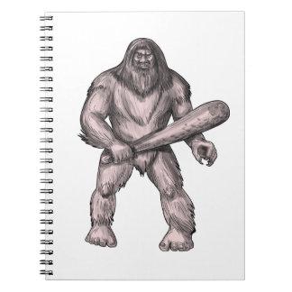 Bigfoot Holding Club Standing Tattoo Notebooks