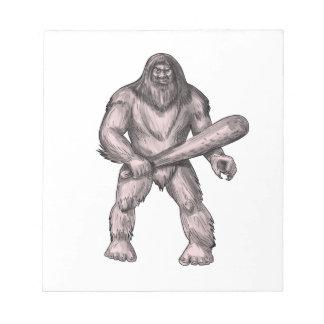 Bigfoot Holding Club Standing Tattoo Notepad