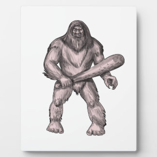 Bigfoot Holding Club Standing Tattoo Plaque