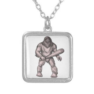 Bigfoot Holding Club Standing Tattoo Silver Plated Necklace