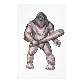 Bigfoot Holding Club Standing Tattoo Stationery