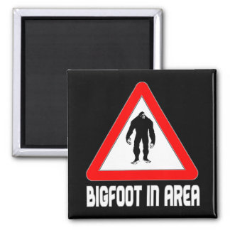 Bigfoot in Area Warning Sign Square Magnet