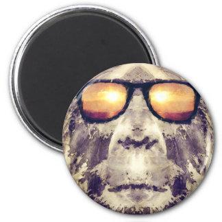 Bigfoot In Shades 6 Cm Round Magnet