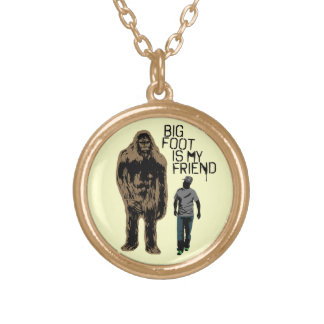 Bigfoot Is My Friend Round Pendant Necklace