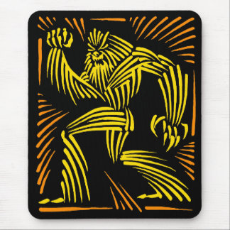 Bigfoot Mousepad Woodcut Graphic - Yellow Orange