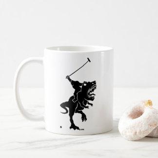 Bigfoot playing polo on a T-rex Coffee Mug
