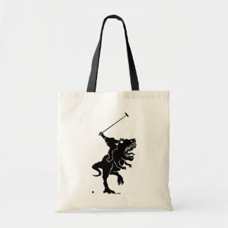 Bigfoot playing polo on a T-rex Tote Bag