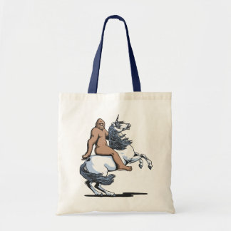 Bigfoot Riding a Unicorn Budget Tote Bag