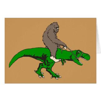 Bigfoot riding T Rex Card