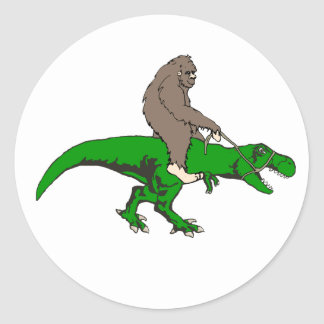 Bigfoot riding T Rex Classic Round Sticker