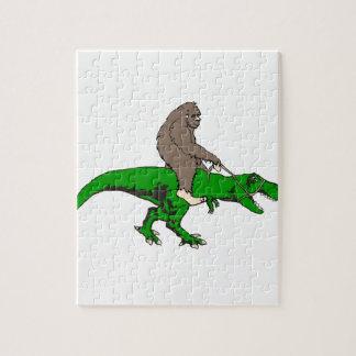 Bigfoot riding T Rex Jigsaw Puzzle