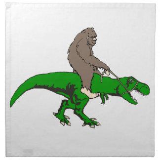 Bigfoot riding T Rex Napkin