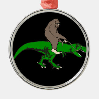 Bigfoot riding T Rex Silver-Colored Round Decoration
