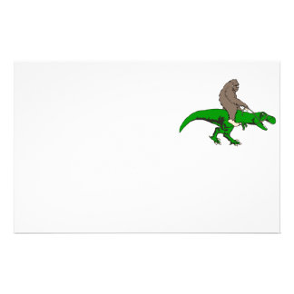 Bigfoot riding T Rex Stationery