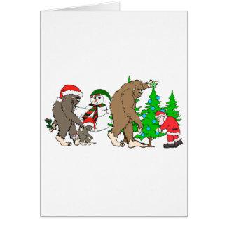 Bigfoot Santa snowman Card