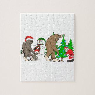 Bigfoot Santa snowman Jigsaw Puzzle