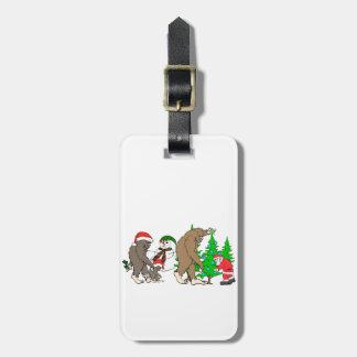 Bigfoot Santa snowman Luggage Tag
