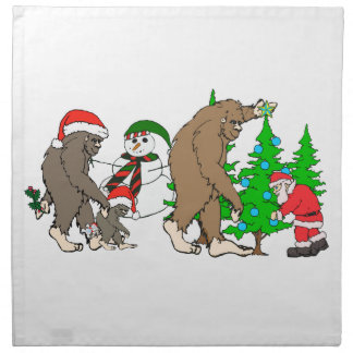 Bigfoot Santa snowman Napkin