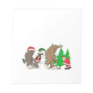 Bigfoot Santa snowman Notepad