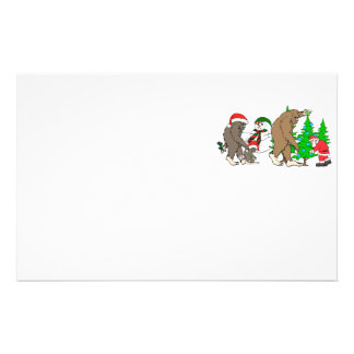Bigfoot Santa snowman Stationery