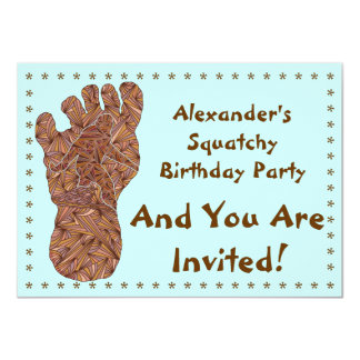 Bigfoot Sasquatch Yeti Squatchy Birthday Invite