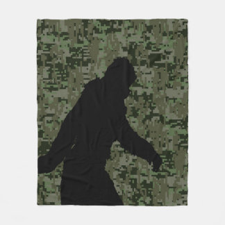 Bigfoot Silhouette on Woodland Digital Camouflage Fleece Blanket